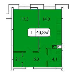 Планировка 1-комнатной квартиры в Аристово-Митино